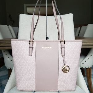 NWT Michael Kors MD Stripe Tote Ballet fawn pink